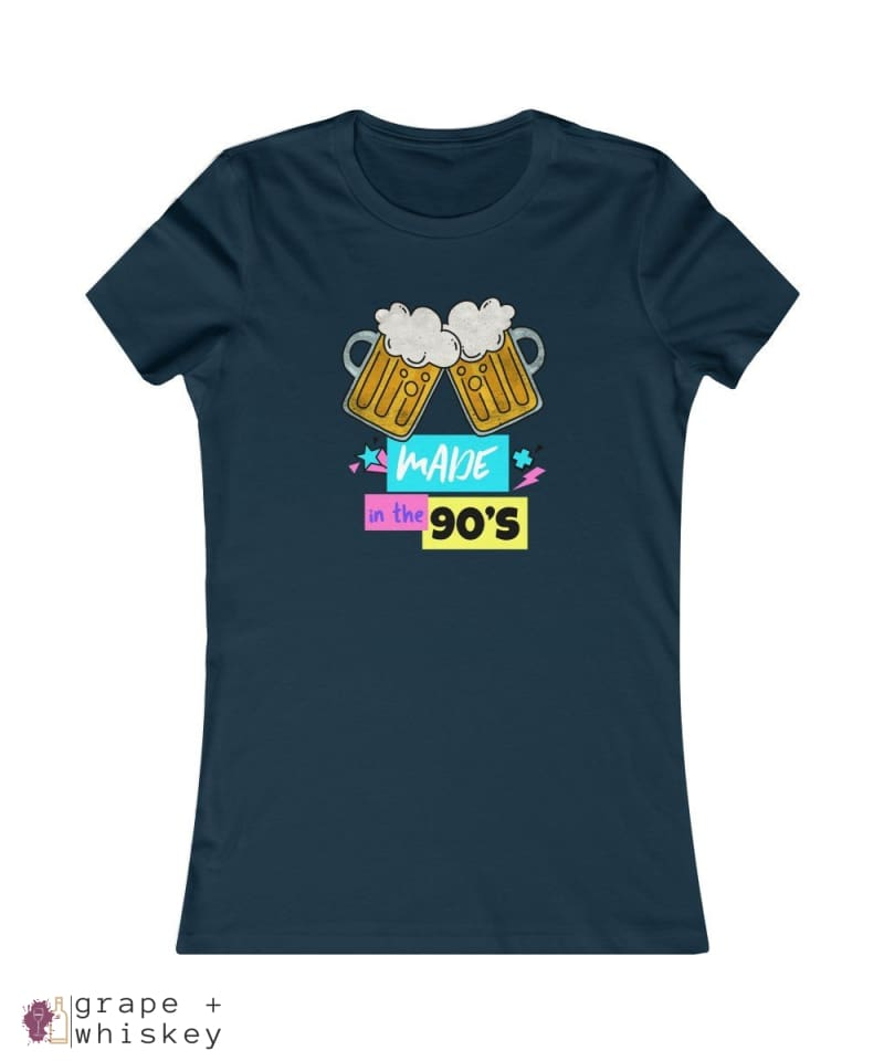 """Made in the 90s"" Women's Favorite Slim-fit Tee - Navy / 2XL - Grape and Whiskey"