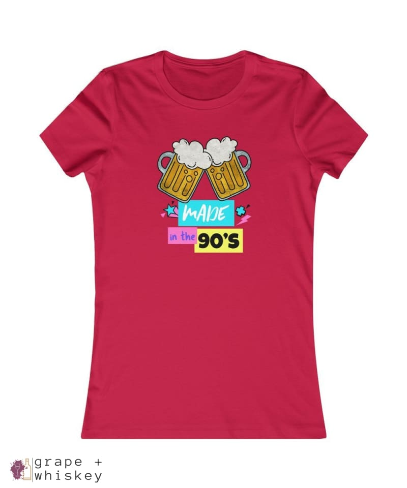 """Made in the 90s"" Women's Favorite Slim-fit Tee - Red / 2XL - Grape and Whiskey"