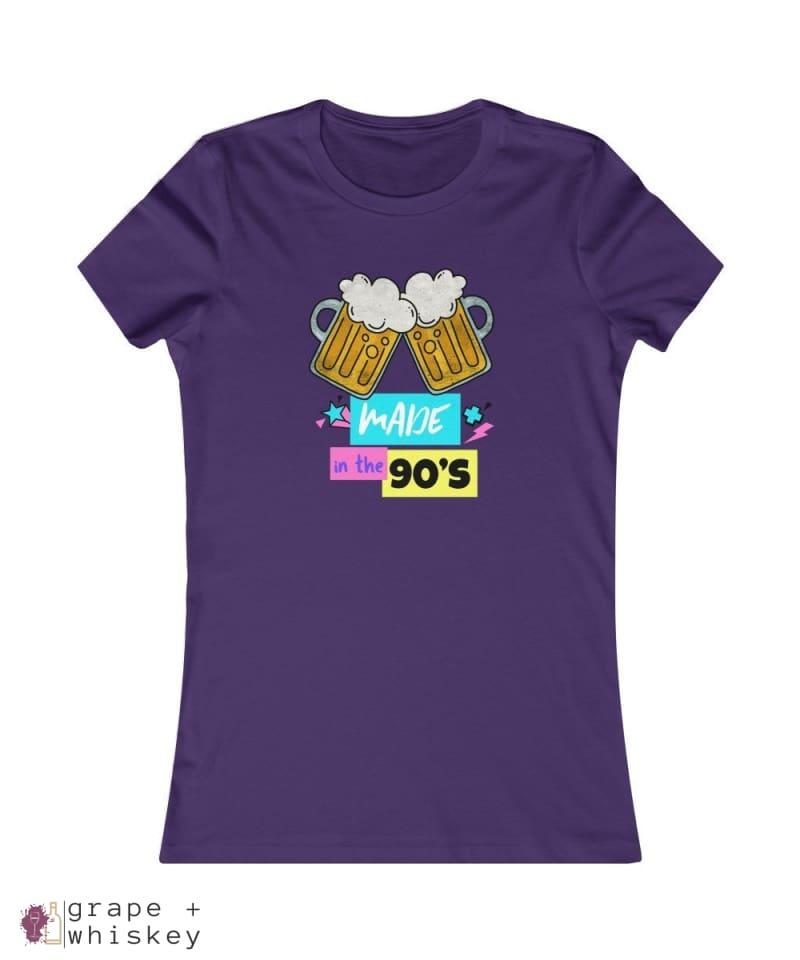 """Made in the 90s"" Women's Favorite Slim-fit Tee - Team Purple / 2XL - Grape and Whiskey"
