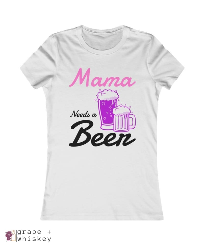 """Mama Needs a Beer"" Women's Favorite Slim-fit Tee - Ash / 2XL - Grape and Whiskey"