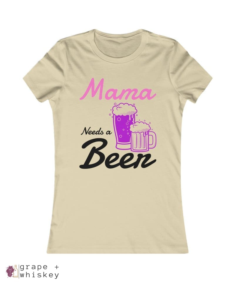 """Mama Needs a Beer"" Women's Favorite Slim-fit Tee - Soft Cream / 2XL - Grape and Whiskey"