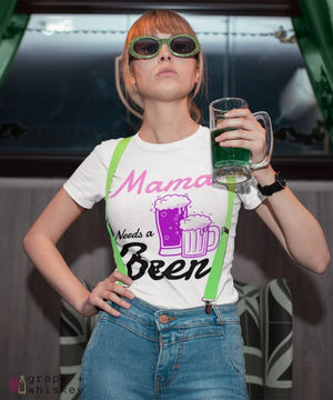 """Mama Needs a Beer"" Women's Favorite Slim-fit Tee - White / L - Grape and Whiskey"