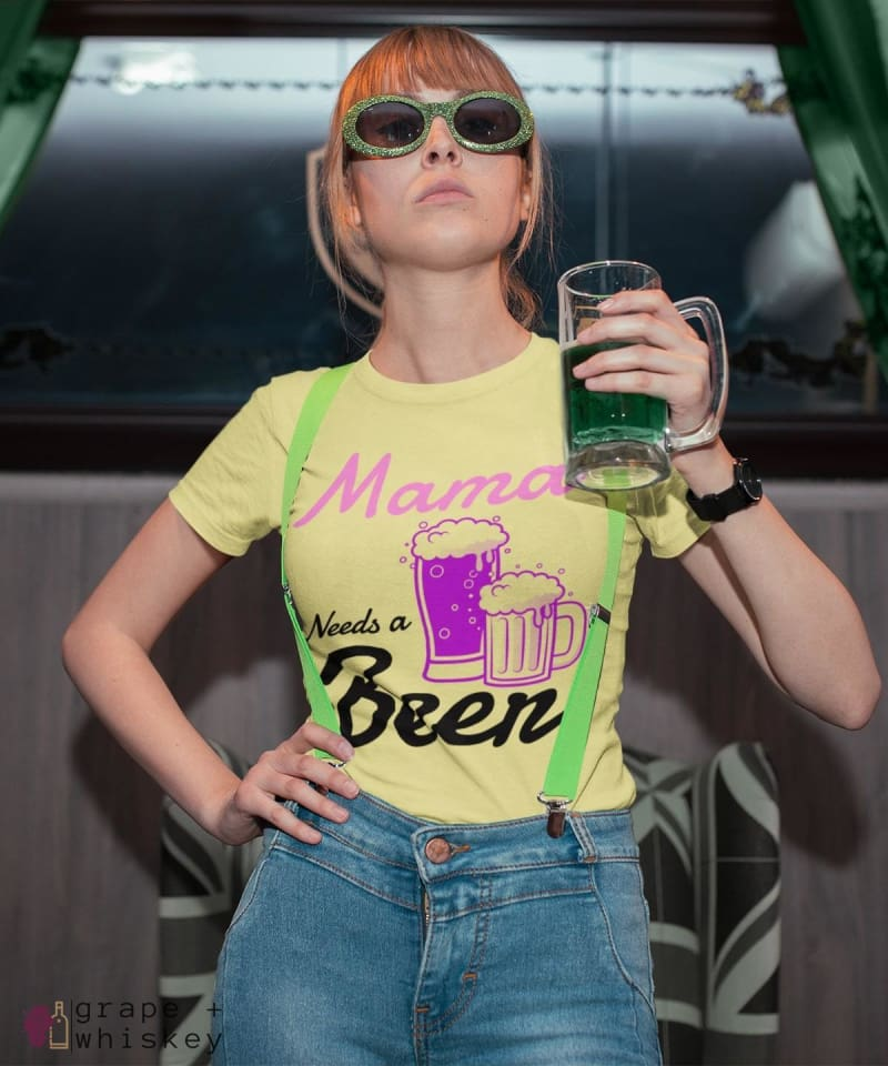 """Mama Needs a Beer"" Women's Favorite Slim-fit Tee - Yellow / L - Grape and Whiskey"