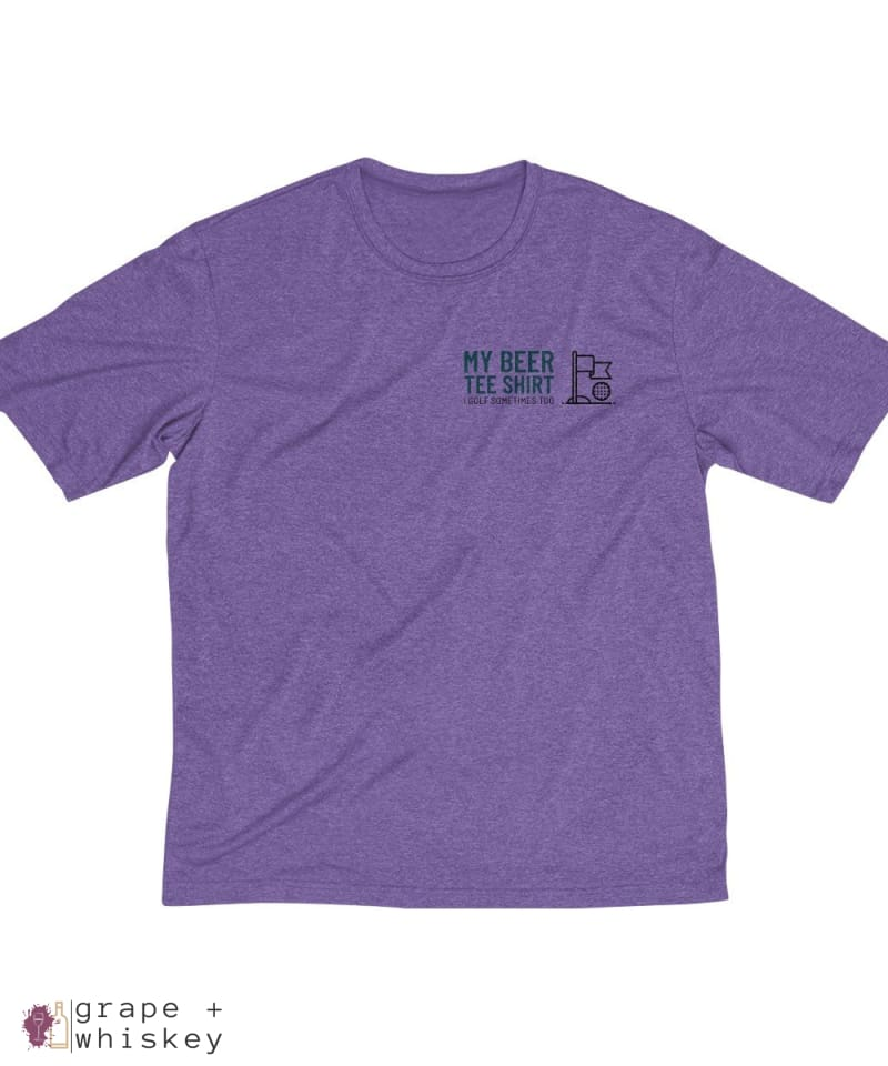 My Beer Tee Shirt Men's Sports Golf Dri-Fit Tee - Purple Heather / 4XL - Grape and Whiskey
