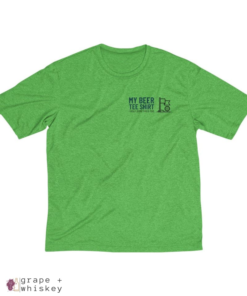 My Beer Tee Shirt Men's Sports Golf Dri-Fit Tee - Turf Green Heather / 4XL - Grape and Whiskey