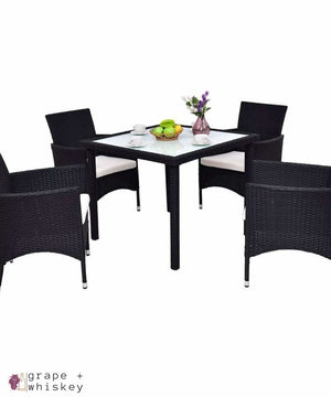 Outdoor Rattan Patio Set - 5 Pieces - Grape + Whiskey - grapeandwhiskey.com