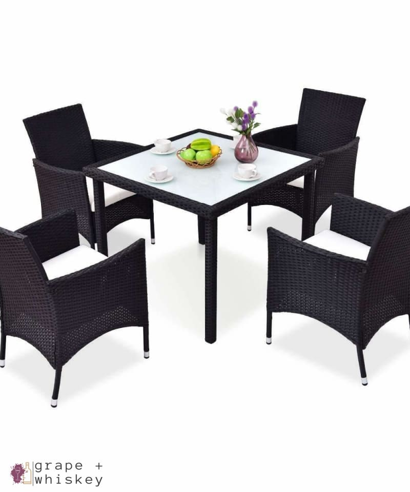 Outdoor Rattan Patio Set - 5 Pieces - Default Title - Grape and Whiskey