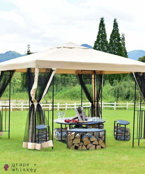 Pop-up 10' x 10' Patio Wine Tasting Gazebo -  - Grape and Whiskey