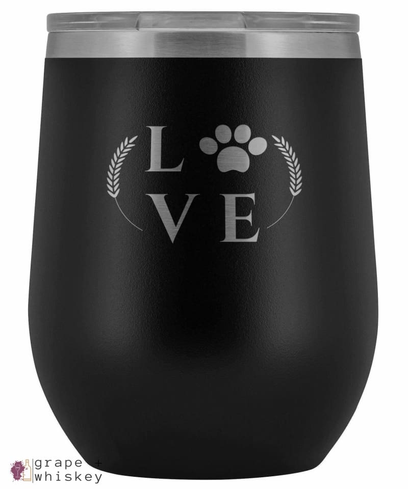 """Puppy Love"" 12oz Stemless Wine Tumbler with Lid - Black - Grape and Whiskey"