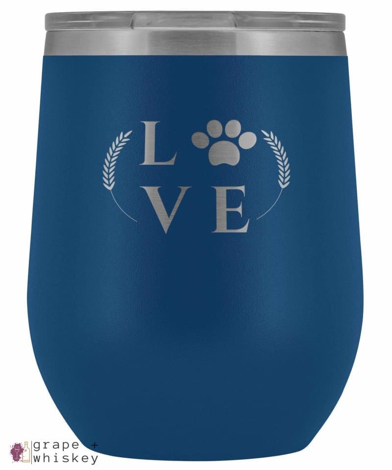 """Puppy Love"" 12oz Stemless Wine Tumbler with Lid - Blue - Grape and Whiskey"