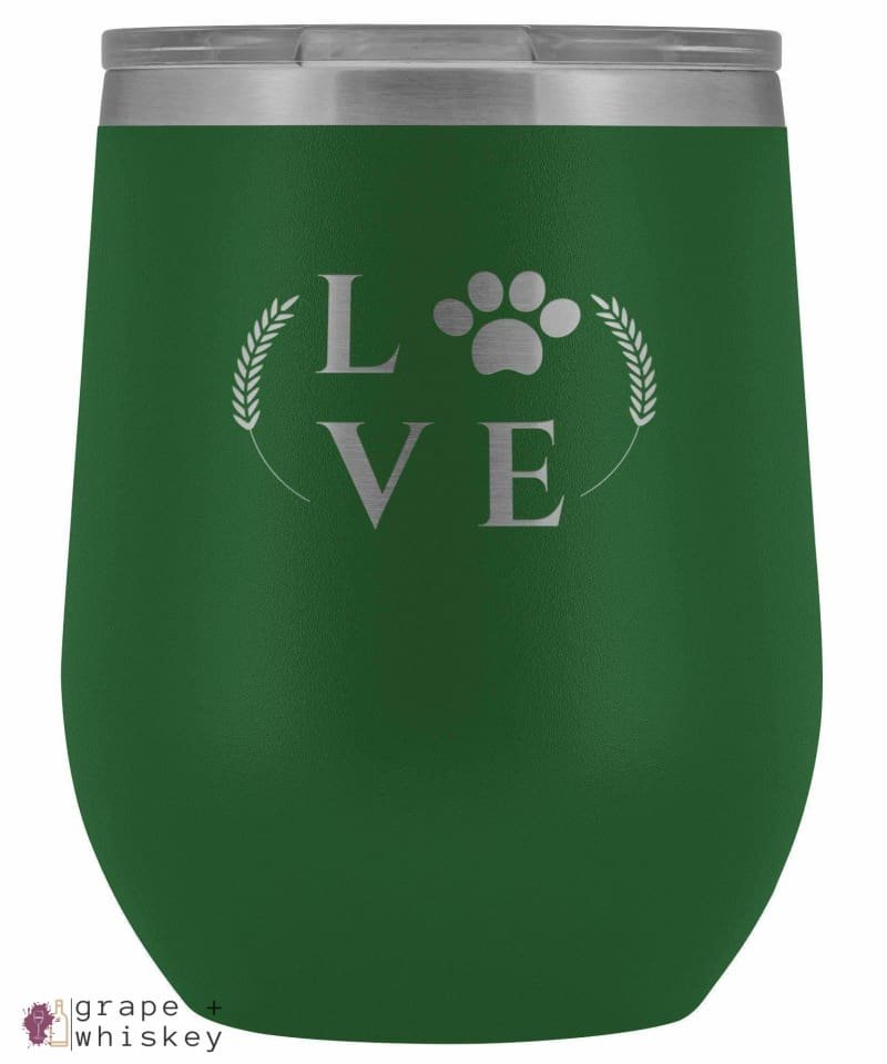 """Puppy Love"" 12oz Stemless Wine Tumbler with Lid - Green - Grape and Whiskey"