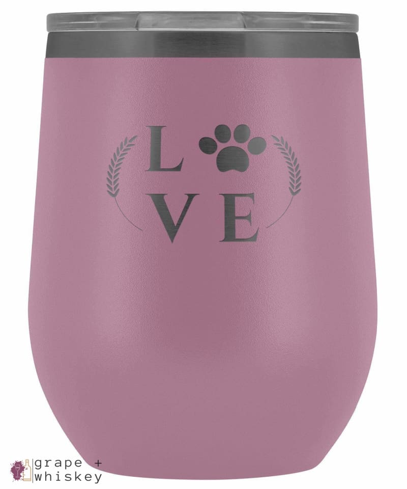 """Puppy Love"" 12oz Stemless Wine Tumbler with Lid - Light Purple - Grape and Whiskey"