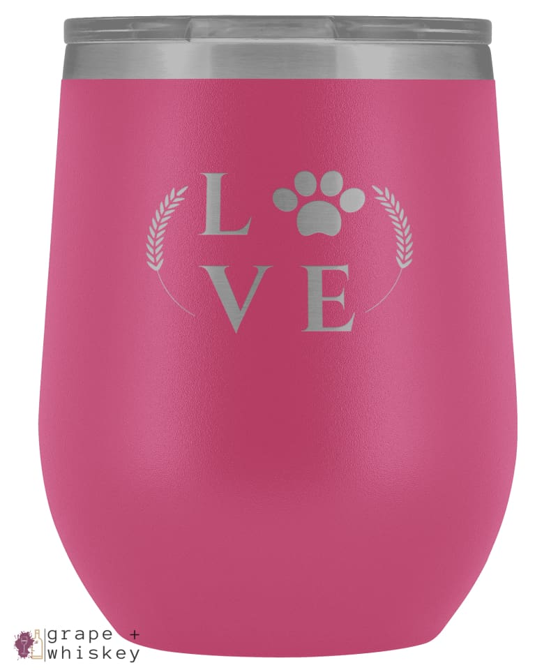 """Puppy Love"" 12oz Stemless Wine Tumbler with Lid - Pink - Grape and Whiskey"