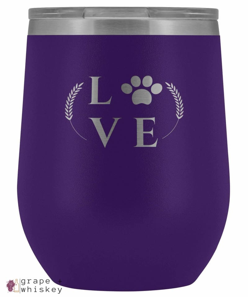 """Puppy Love"" 12oz Stemless Wine Tumbler with Lid - Purple - Grape and Whiskey"