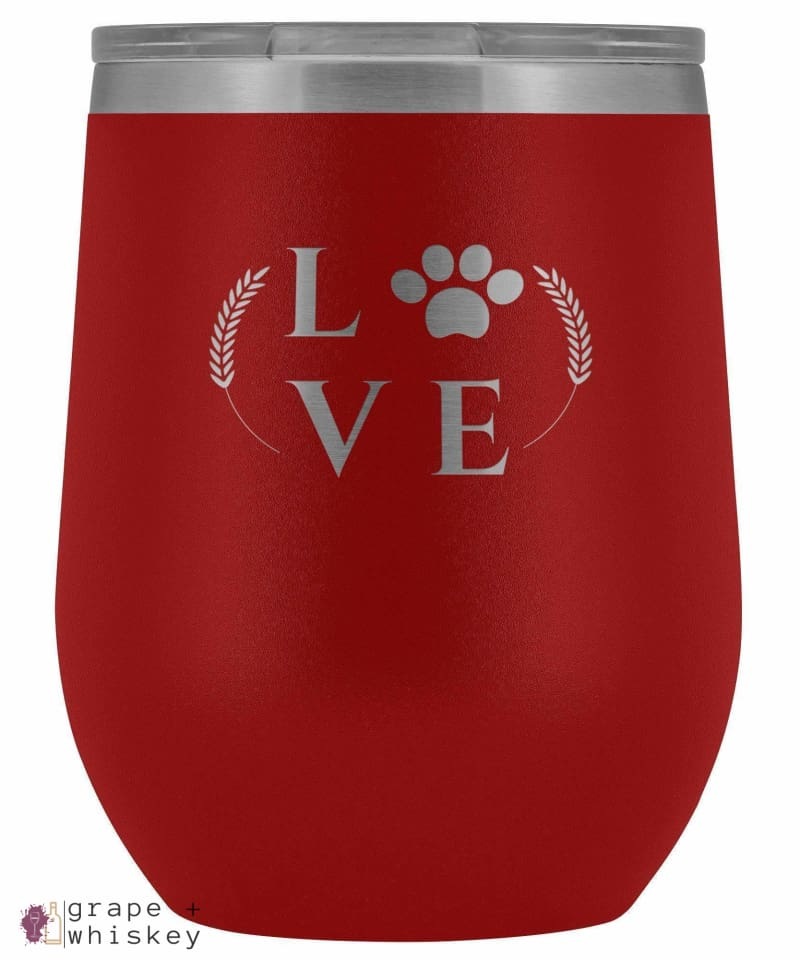 """Puppy Love"" 12oz Stemless Wine Tumbler with Lid - Red - Grape and Whiskey"