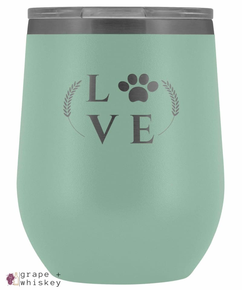 """Puppy Love"" 12oz Stemless Wine Tumbler with Lid - Teal - Grape and Whiskey"