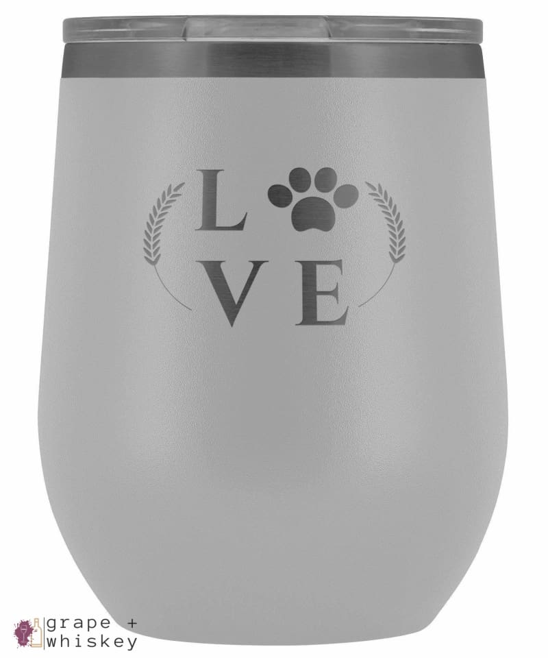 """Puppy Love"" 12oz Stemless Wine Tumbler with Lid - White - Grape and Whiskey"