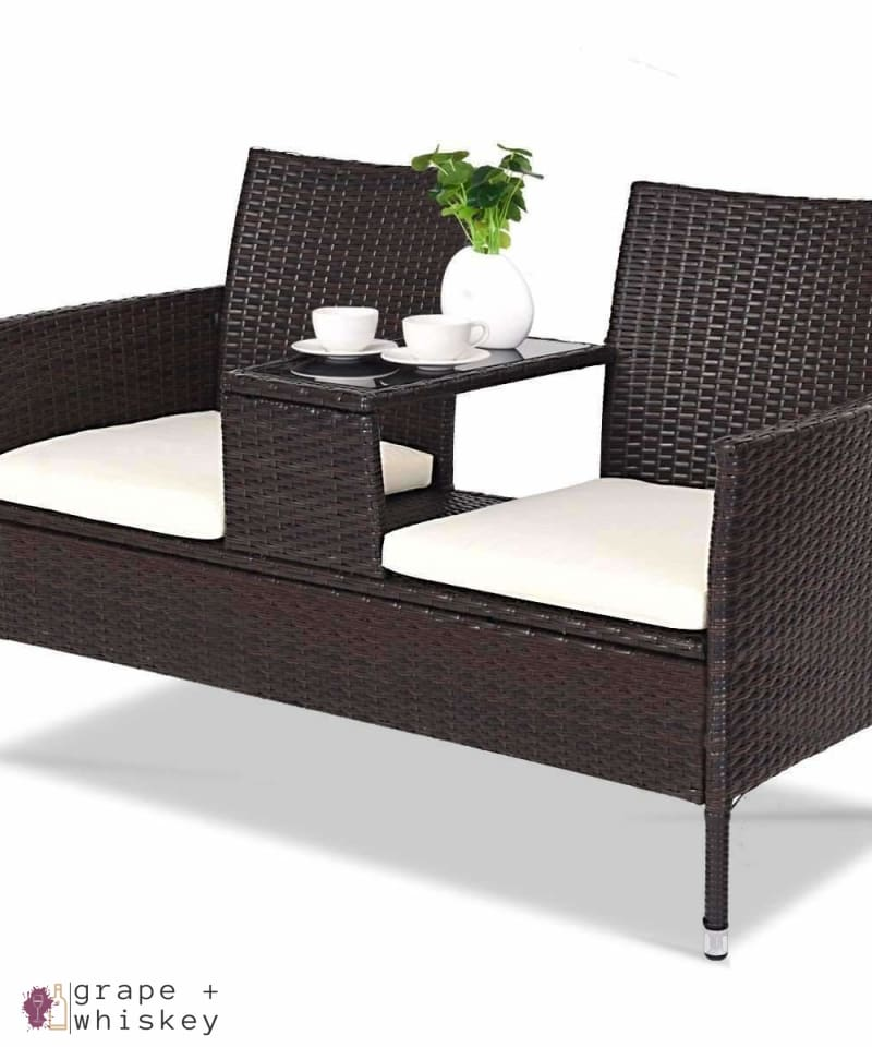 Rattan II Cushioned Patio Set - Default Title - Grape and Whiskey