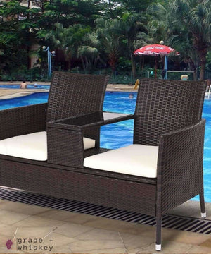 Rattan II Cushioned Patio Set -  - Grape and Whiskey