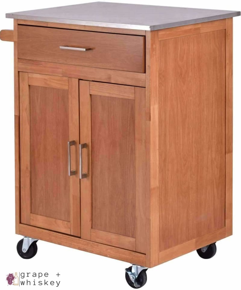 Rolling Kitchen Island Bar with Stainless Steel Top - Default Title - Grape and Whiskey