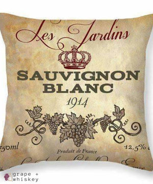 "Sauvignon Blanc Throw Pillow - 26"" x 26"" / No - Grape and Whiskey"