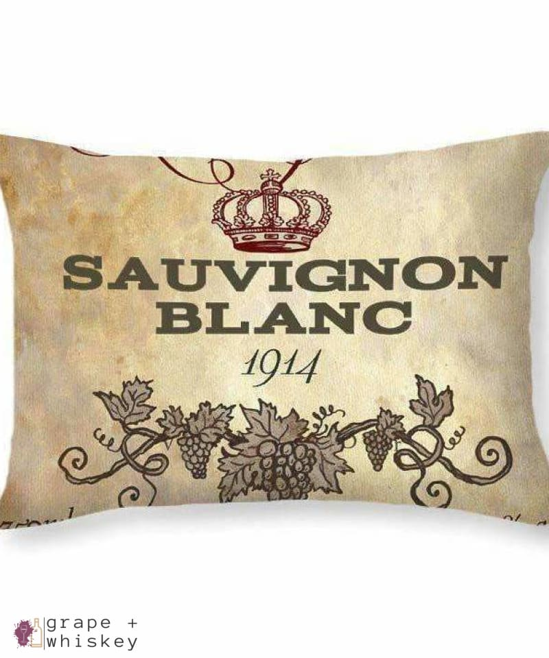 "Sauvignon Blanc Throw Pillow - 20"" x 14"" / No - Grape and Whiskey"