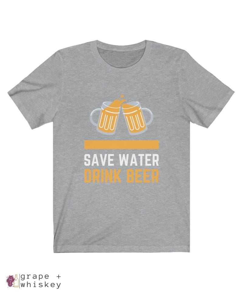 Save Water Drink Beer Short Sleeve T-shirt - Athletic Heather / 2XL - Grape and Whiskey