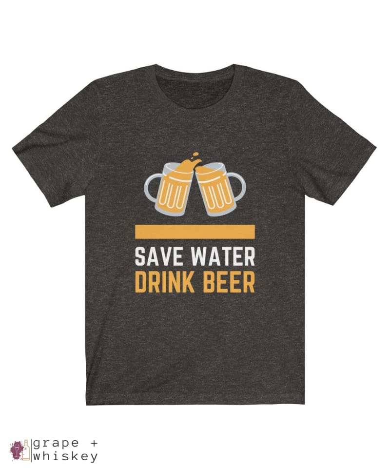 Save Water Drink Beer Short Sleeve T-shirt - Black Heather / 2XL - Grape and Whiskey