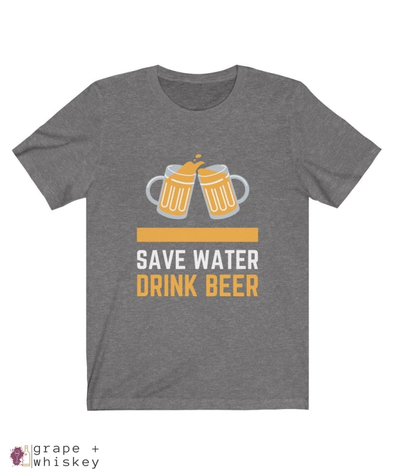 Save Water Drink Beer Short Sleeve T-shirt - Deep Heather / 2XL - Grape and Whiskey