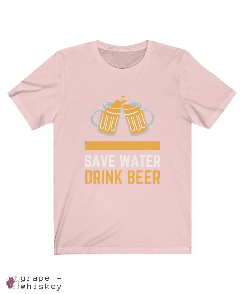 Save Water Drink Beer Short Sleeve T-shirt - Soft Pink / 2XL - Grape and Whiskey