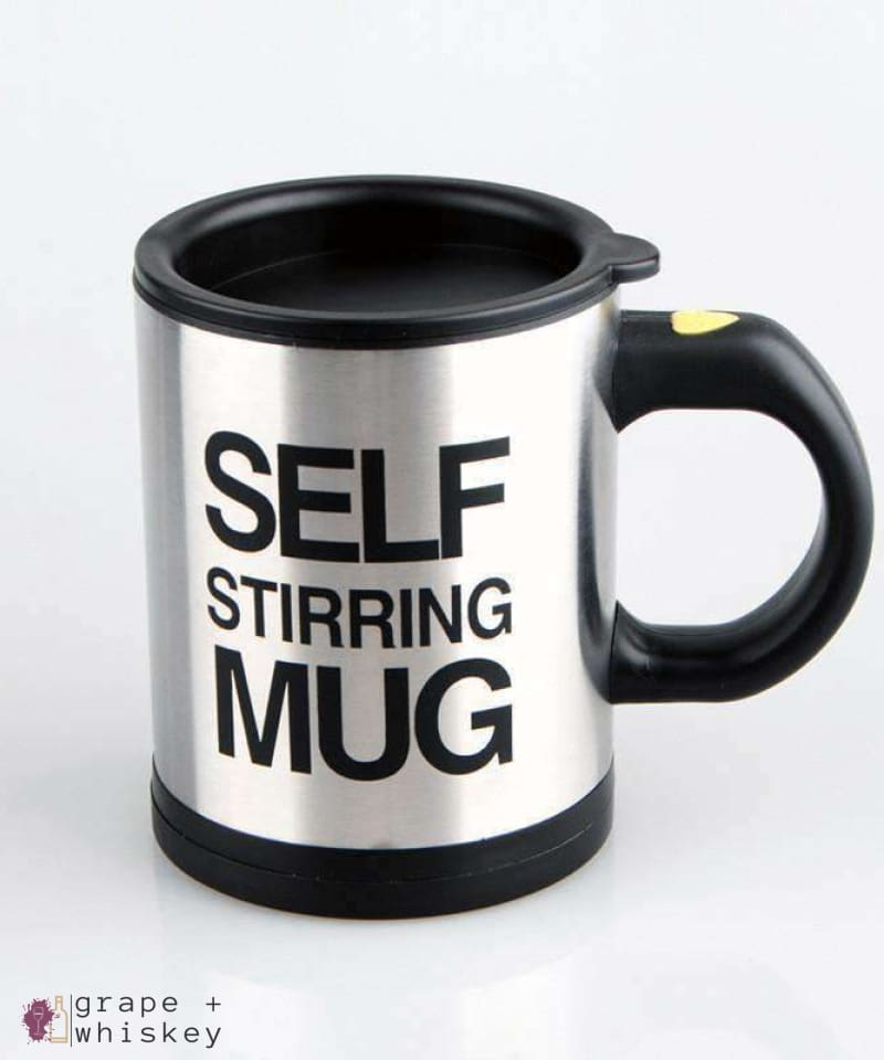 Self Stirring Coffee Mug - Black - Grape and Whiskey