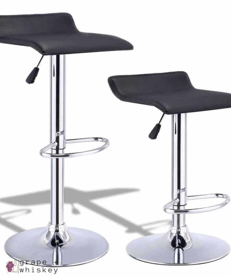 Set of 2 Modern Backless Swivel Bar Stools - Black - Default Title - Grape and Whiskey