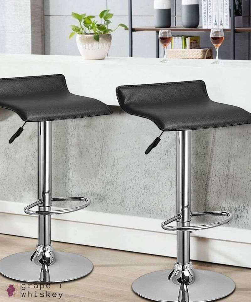 Set of 2 Modern Backless Swivel Bar Stools - Black -  - Grape and Whiskey