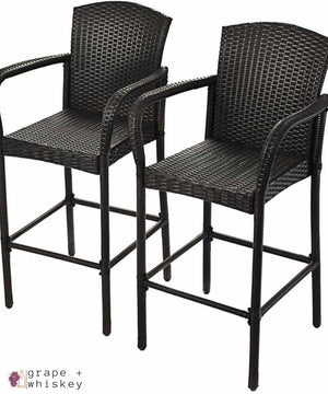 Set of 2 Rattan Bar Stools - Default Title - Grape and Whiskey