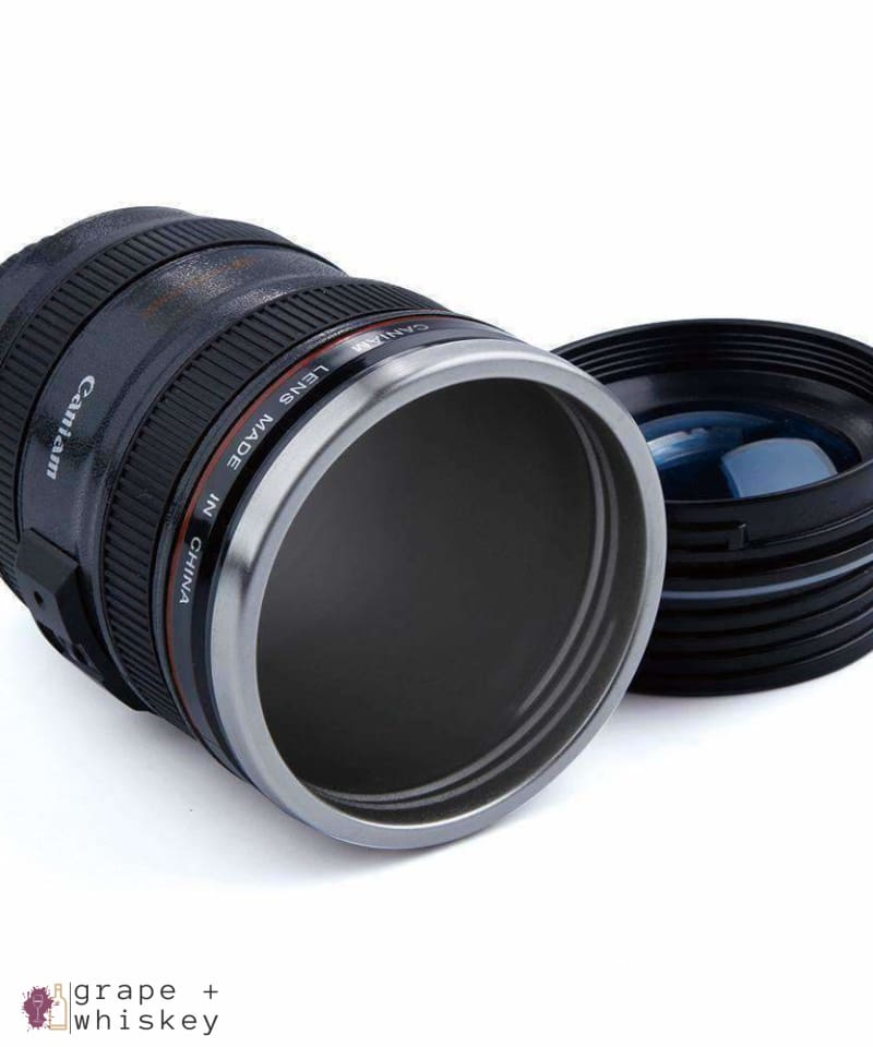 Stainless Steel Camera Lens Mug - Grape + Whiskey - grapeandwhiskey.com
