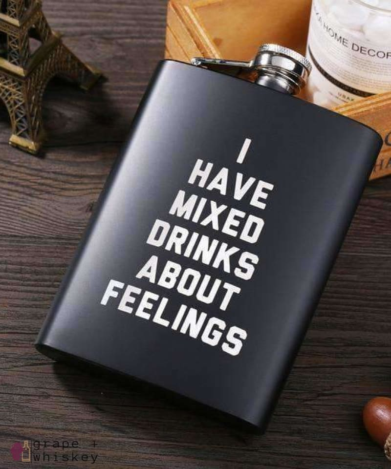 Stainless Steel Flask Gift Set - E - Grape and Whiskey