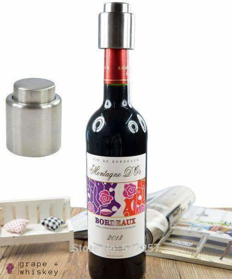 Stainless Steel Vacuum Wine Sealer -  - Grape and Whiskey