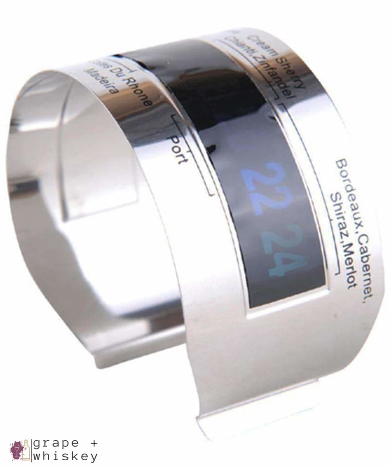 Stainless Steel Wine Bracelet Thermometer - Grape + Whiskey - grapeandwhiskey.com