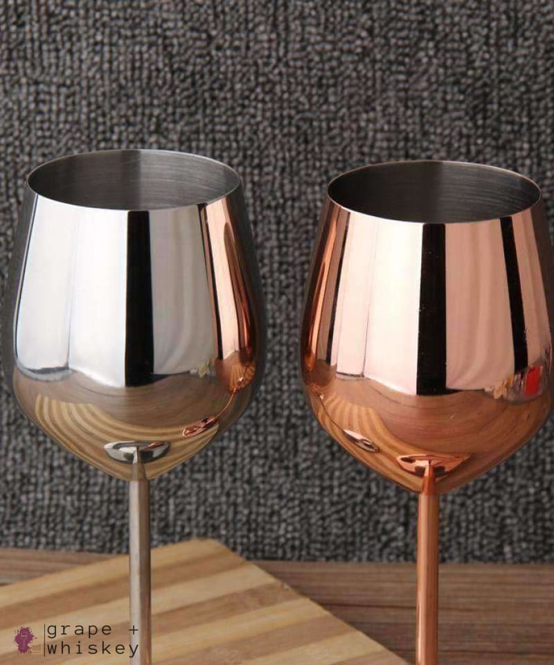 Stainless Steel Wine Glasses -  - Grape and Whiskey