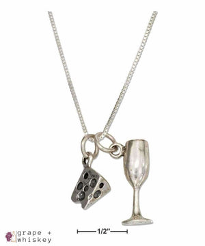 "Sterling Silver 18"" Wedge Of Cheese and Wine Glass Necklace - Default Title - Grape and Whiskey"