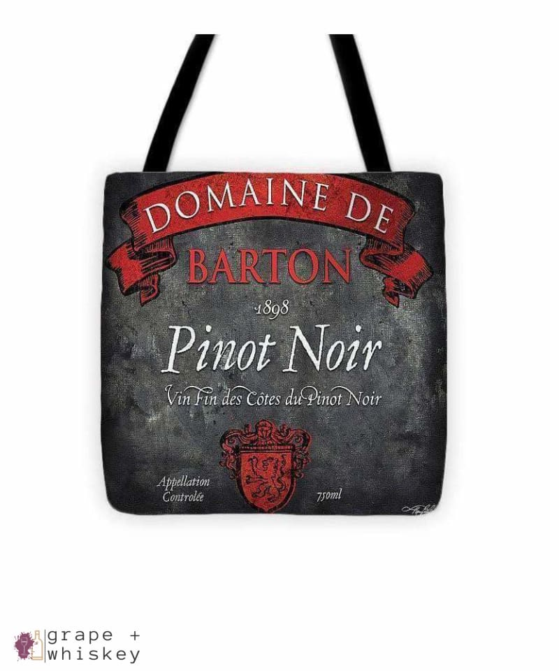 "Still Life Wine Label Square Viii Tote Bag - 13"" x 13"" - Grape and Whiskey"