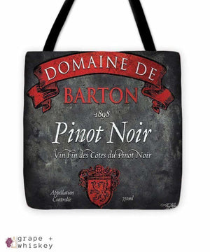 "Still Life Wine Label Square Viii Tote Bag - 16"" x 16"" - Grape and Whiskey"