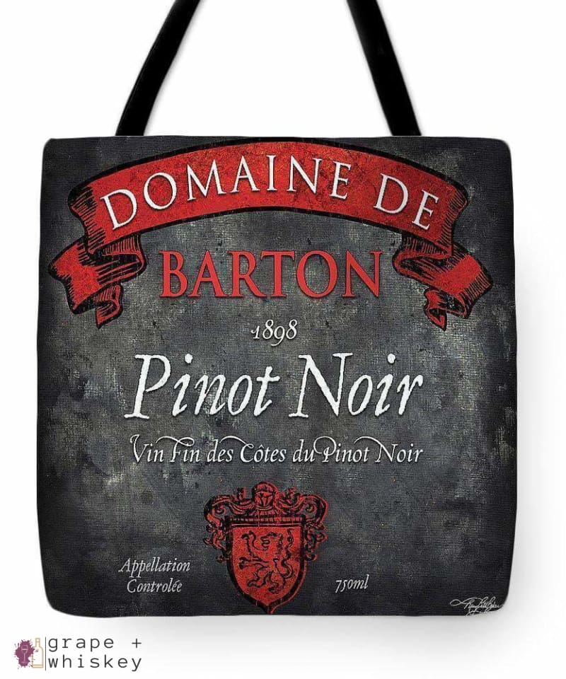 "Still Life Wine Label Square Viii Tote Bag - 18"" x 18"" - Grape and Whiskey"