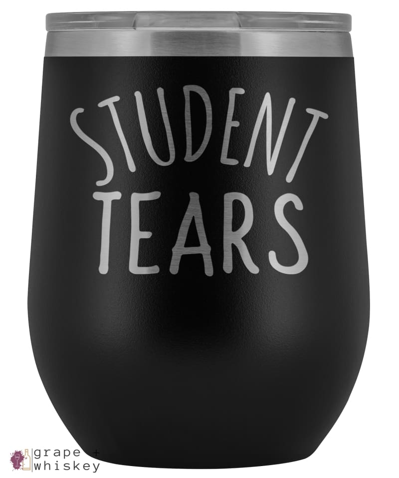 Student Tears 12oz Stemless Wine Tumbler with Lid - Black - Grape and Whiskey