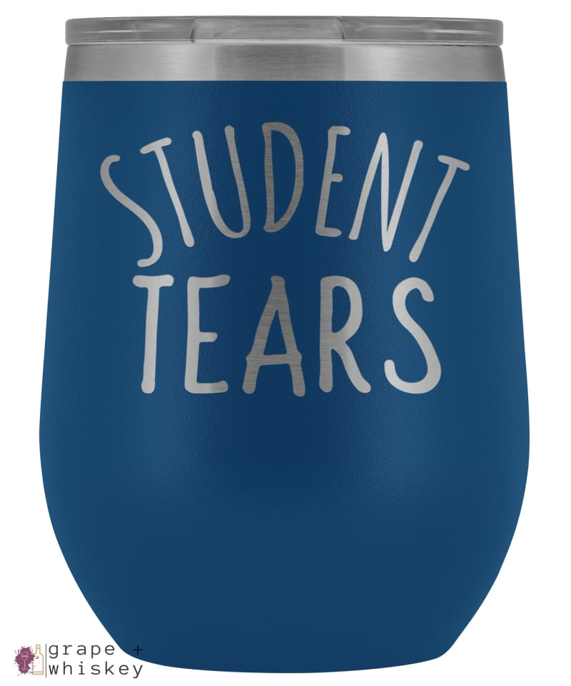 Student Tears 12oz Stemless Wine Tumbler with Lid - Blue - Grape and Whiskey