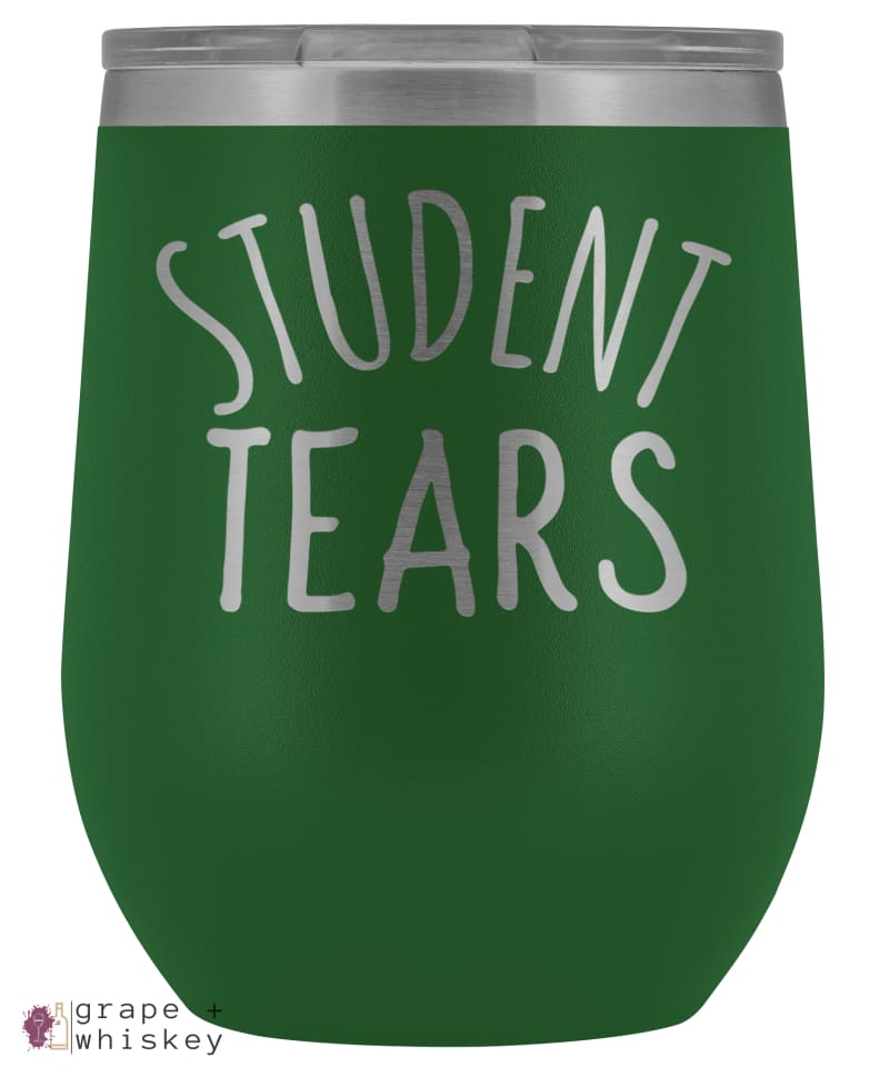 Student Tears 12oz Stemless Wine Tumbler with Lid - Green - Grape and Whiskey