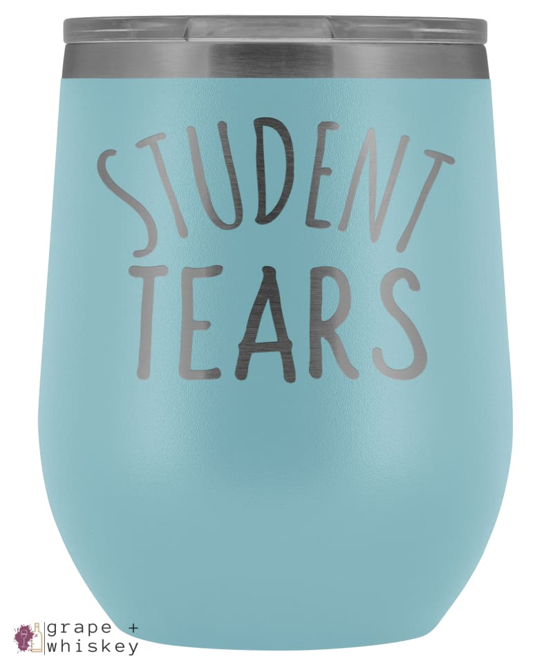 Student Tears 12oz Stemless Wine Tumbler with Lid - Light Blue - Grape and Whiskey