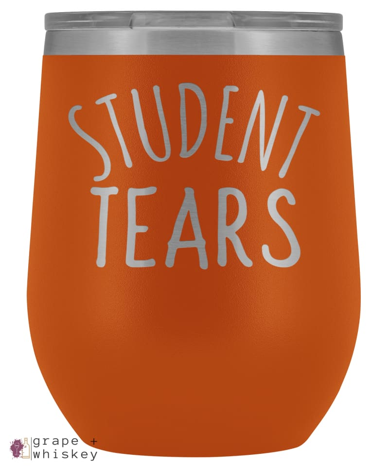 Student Tears 12oz Stemless Wine Tumbler with Lid - Orange - Grape and Whiskey