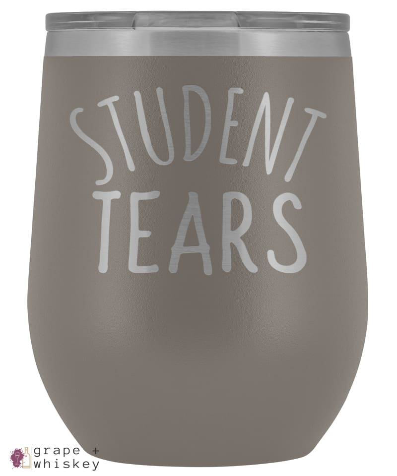 Student Tears 12oz Stemless Wine Tumbler with Lid - Pewter - Grape and Whiskey
