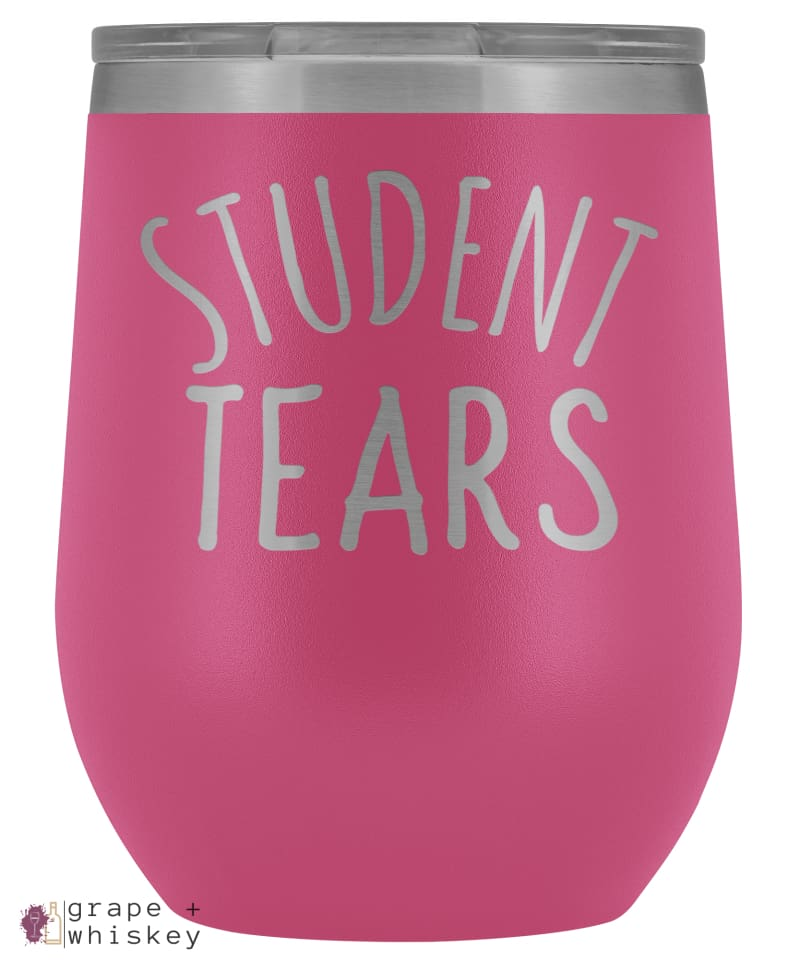 Student Tears 12oz Stemless Wine Tumbler with Lid - Pink - Grape and Whiskey